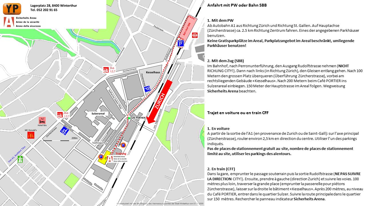 Sicherheits Arena Winterthur - Anreise mit SBB oder PW